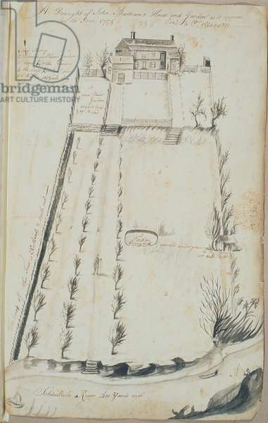 A Draught of John Bartram's House and Garden as it appears from the River, 1758 1758 (w/c on paper)