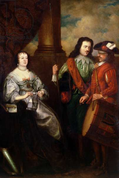 Portrait of Charlotte Tremouille (d.1663), tearing up the summons to surrender Latham House (oil on canvas)