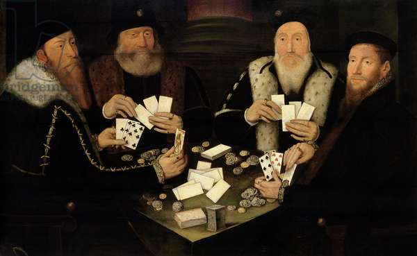 Four Gentlemen of High Rank Playing Primero (oil on panel)