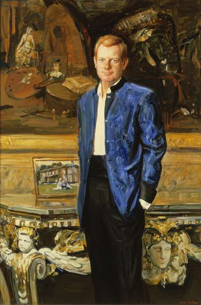 Edward Richard William Stanley (b.1962) 19th Earl of Derby (oil on canvas) (see 203590 for pair)