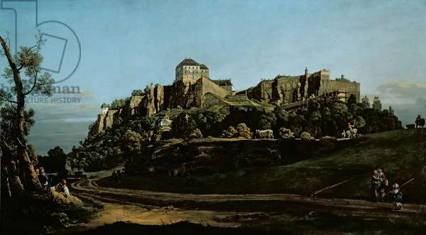 The Fortress of Konigstein, seen from the north (oil on board) (see 204110)