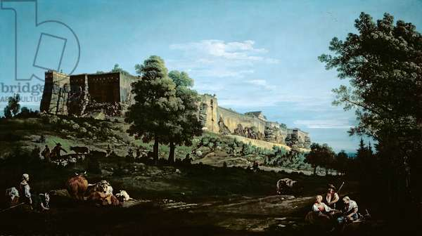 The Fortress of Konigstein, seen from the south (oil on panel) (see 204109)