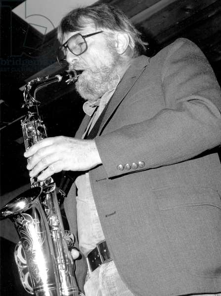 Bud Shank performing on the saxophone