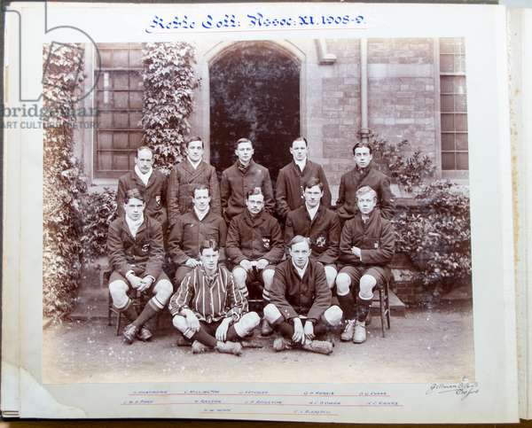Keble College Oxford, Association Football XI, including David (later Reverend) Railton, (seated, second left), founder of the Tomb of the Unknown Warrior, Westminster Abbey, 1908-09 (b/w photo)