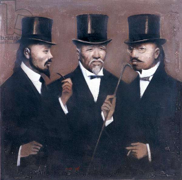 Gentlemen, 2001 (oil on canvas)