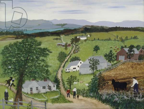 Plowing in May, 1951 (oil on pressed wood)