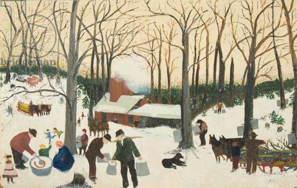 Bringing in the Maple Sugar, 1940 (oil on pressed wood)