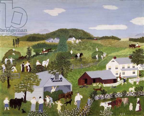 Haying Time, 1945 (oil on pressed wood)