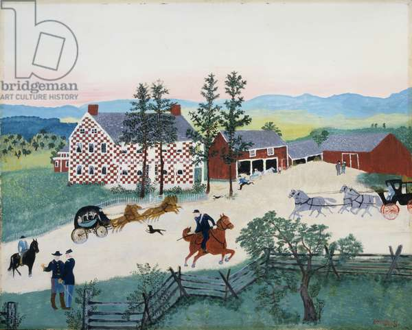 The Old Checkered House in 1860, 1942 (oil on pressed wood)