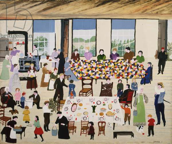 The Quilting Bee, 1950 (oil on pressed wood)