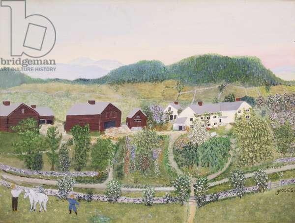 Grandma Moses Home, 1952 (oil on pressed wood)