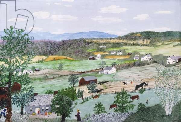 Hoosick Hills, 1956 (oil on pressed wood)