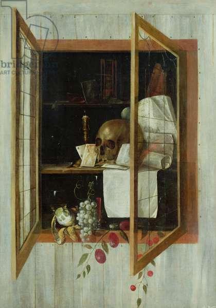 Vanitas still life seen through a trompe l'oeil window (oil on canvas)