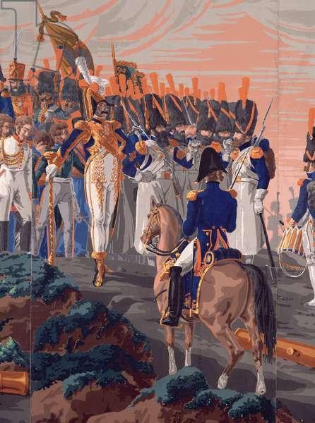 Detail of 'The Battle of Austerlitz', a panoramic wallpaper design, 1827-29 (wallpaper)