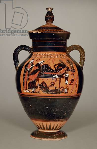 Belly Amphora depicting Priam and Achilles, c.550 BC (ceramic) (see also 288279, 293742 and 307550)