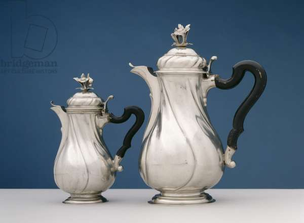 Pair of Teapots, c.1780 (silver and ebony)
