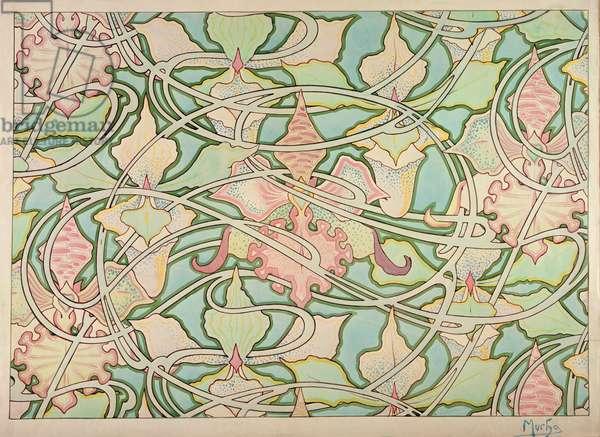 Wallpaper design (graphite & w/c on paper)