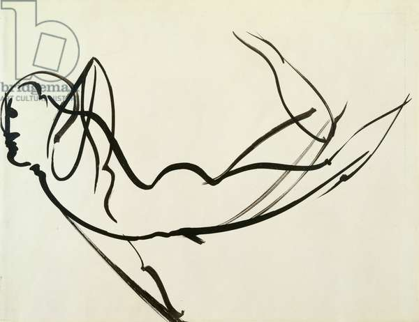 Dancing Nude (black paint on paper)