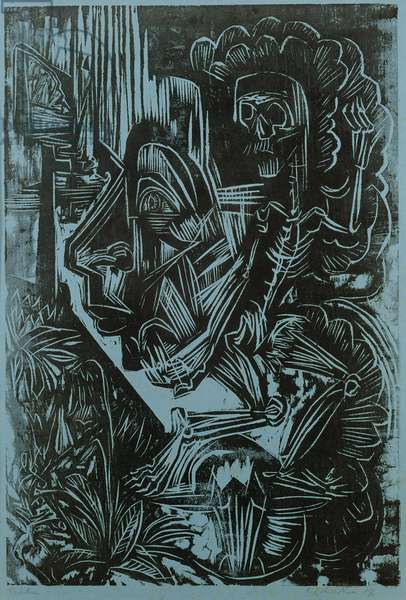 Self Portrait with Death Dancing, 1917 (woodcut)