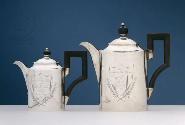 Pair of teapots, c.1814 (silver)