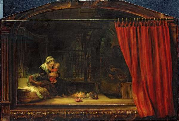Holy Family with a Curtain, 1646 (oil on panel)