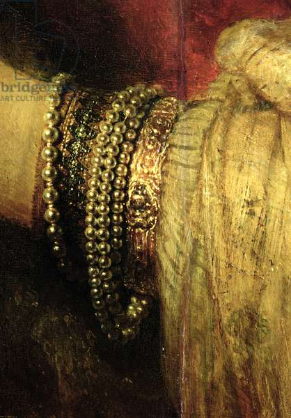 Portrait of Saskia van Uylenburgh (1612-42) in Rich Costume (oil on panel) (detail) (see 244316)