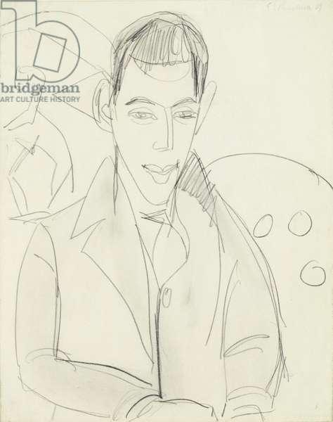Young Poet (Simon Guttmann), 1911 (graphite on paper)