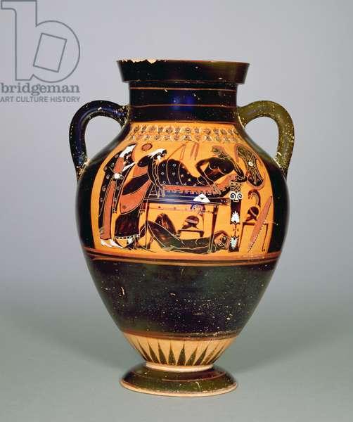 Amphora depicting Priam and Achillies, c.550 BC (ceramic) (see also 293741-42 and 307550)