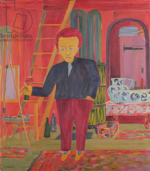 The Painter Ernst Ludwig Kirchner Posing for a Portrait in Davos (oil on canvas)
