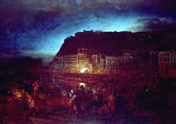 Festival of St. Lucia in Naples, 1874 (oil on canvas)
