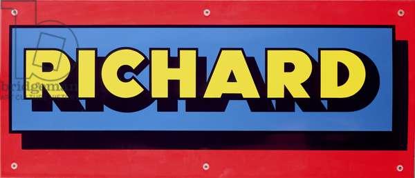 Sign, 1975 (enamel on steel plate)