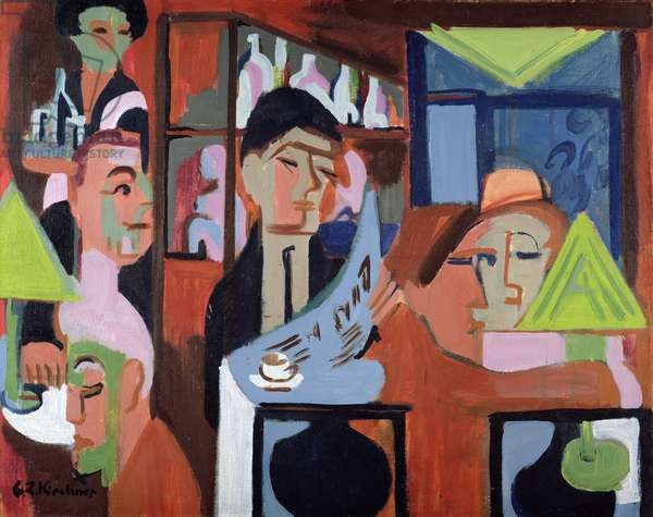 A Cafe in Davos (oil on canvas)