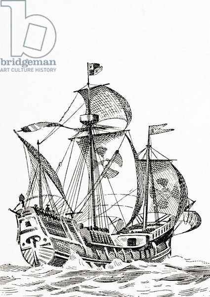 A 15th century carrack, a three masted sailing ship used in the time of Christopher Columbus