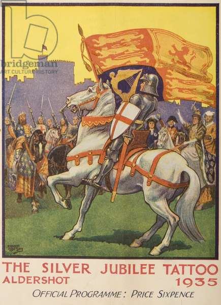 St. George with the Royal Standard from the official programme for the Silver Jubilee Tattoo, Aldershot, 1935 (colour litho)