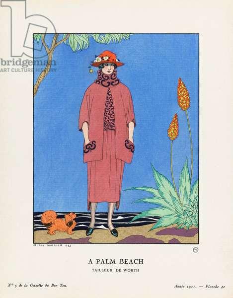 A Palm Beach,  At Palm Beach, Florida, USA, Art-deco fashion for the Gazette du Bon Ton, a Parisian fashion magazine published between 1912-1915 and 1919-1925