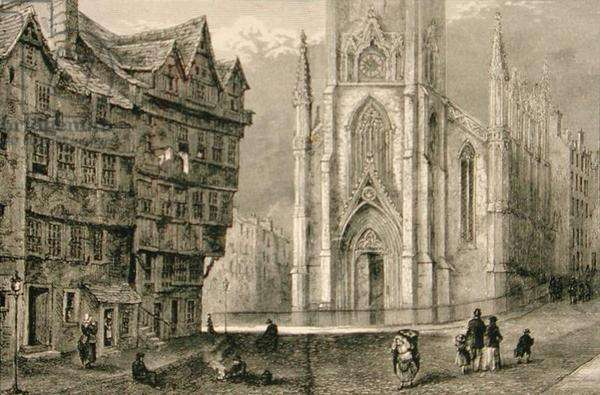 Head of West Bow, with the Assembly Hall in the mid 1800s, from 'Scottish Pictures' published by the Religious Tract Society, 1886 (engraving)