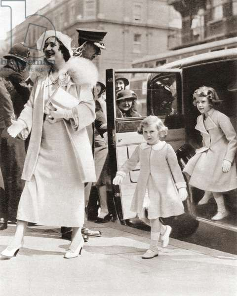 The Duchess of York arriving at the Royal Tournament at Olympia in 1935 with her daughters Princess Margaret, left and Princess Elizabeth, right, from The Coronation Book of King George VI and Queen Elizabeth, pub.1937