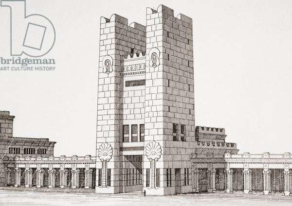 Jerusalem temple, from 'Enciclopedia Ilustrada Seguí', c.1910 (engraving)