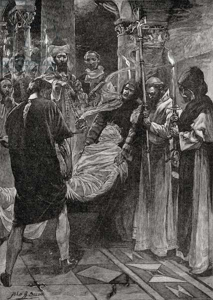 The Burial of King Ethelbert of Kent, from the book 'The Church of England: A History for the People', published c.1910 (litho)
