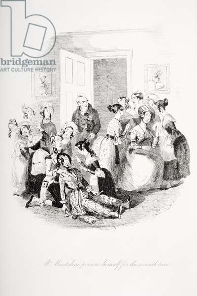 Mr. Mantalini poisons himself for the seventh time, illustration from `Nicholas Nickleby' by Charles Dickens (1812-70) published 1839 (litho)