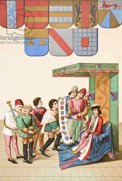 Display of armorial bearings, 1878 (colour litho)