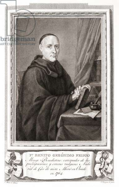 Friar Benito Jerónimo Feijóo y Montenegro, after an etching in Retratos de Los Españoles Ilustres, Madrid, Spain, pub. 1791
