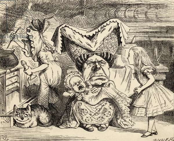 The Duchess with her family, from 'Alice's Adventures in Wonderland' by Lewis Carroll, published 1891 (litho)