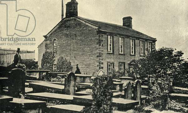 Haworth Parsonage, home to the Bronte family (b/w photo)