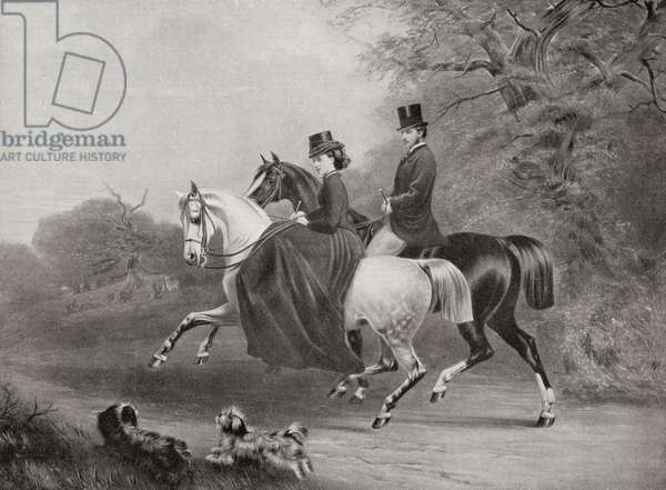 Albert Edward, Prince of Wales, future King Edward VII and Alexandra of Denamrk riding in Windsor Great Park England in 1863.  From Edward VII His Life and Times, published 1910.