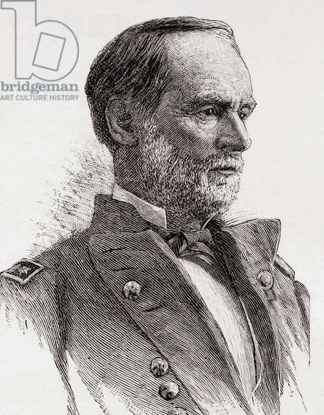 William Tecumseh Sherman, 1820 – 1891.  American soldier, businessman, educator and author. General in the  Union Army during the American Civil War.  From The Review of Reviews, published 1891