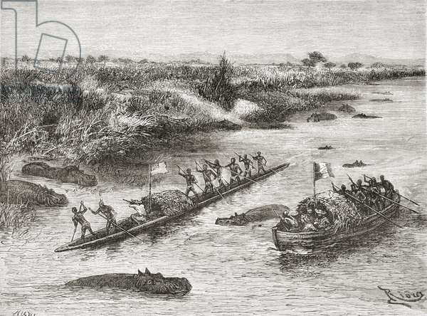 French and British explorers hunting hippopotamus on the Congo River in the 19th century, from 'Africa Pintoresca', published 1888 (engraving)