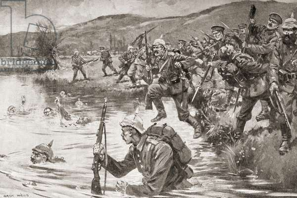 British and French infantry fighting German infantry during battle of the Marne during WWI.  Drawn by Archibald Webb