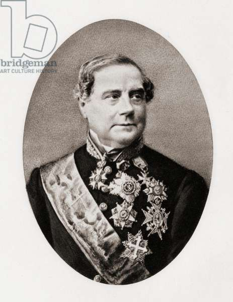 """Sylvain Van de Weyer, 1802-1874. First ambassador of Belgium in the United Kingdom. From a miniature from the book """"The Letters of Queen Victoria 1854-1861 Vol III"""" published 1907."""
