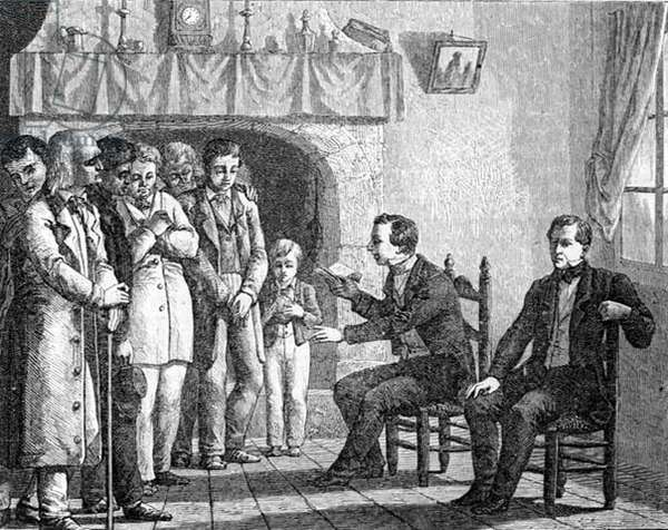 Joseph Smith, Founder of the Mormon Church, Reading from the Book of Mormon to Early Mormon Converts, from 'La Vuelta al Mundo', published in Madrid, 1865 (engraving)